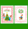 children decorating tree merry christmas postcard vector image vector image
