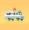 colorful flat ice cream truck vintage vector image
