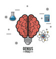colorful poster of genius mind with brain with vector image vector image