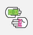 conceptual two hands holding money and word sex vector image