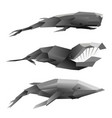 creative set of three polygonal whales on white vector image vector image
