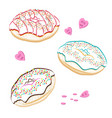donuts outline set collection of tasty donuts vector image
