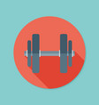 dumbbell flat icon with long shadow eps10 vector image vector image