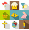 easter celebration icon set flat style vector image vector image