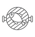 fish grill thin line icon food and sea barbecue vector image