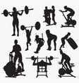 fit gym silhouettes vector image vector image
