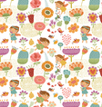 Floral pattern with fairies white vector image vector image