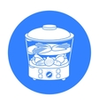 Food steamer icon in black style isolated on white vector image vector image