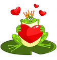 frog prince with heart vector image vector image