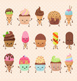 funny cupcake and ice cream dessert vector image vector image