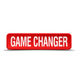 game changer red 3d square button on white vector image vector image