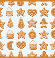 gingerbread cookies on white background vector image vector image