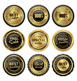 gold labels premium quality product vector image