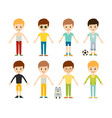 group of young kid portrait friendship man vector image vector image