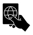 hand holding passport icon vector image