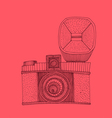 hipster photo camera with flash engraved retro vector image