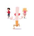 huge evil cigarette running after two frightened vector image vector image