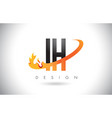 ih i h letter logo with fire flames design vector image vector image
