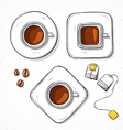 Isolated set cups coffee bean tea bag handmade vector image vector image