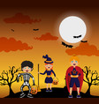 kids and halloween vector image