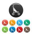 little pram icons set color vector image