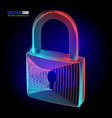 locked padlock cyber security protect with vector image