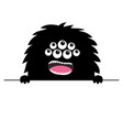 monster scary face head icon hands paw holding vector image vector image