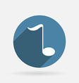 musical note Circle blue icon with shadow vector image