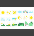 natural objects set weather and meteorology signs vector image