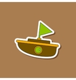 paper sticker on stylish background Kids toy boat vector image