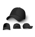 realistic black cap mockup set from front back vector image vector image