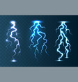 realistic lightning collection on blue transparent vector image