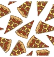 Seamless Pattern with Pepperoni Pizza Slices vector image vector image