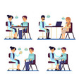 set doctors sitting and consulting patients in vector image vector image