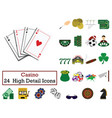 set of 24 casino icons vector image