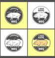set of pig farm fresh pork meat emblems design vector image