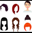 set of six woman haircuts vector image