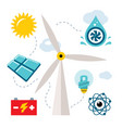 set - types of power generation flat style vector image vector image