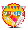 summer label with colorful flags ice cream vector image vector image