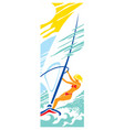 sun sea waves sailboard beautiful girl vector image vector image