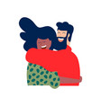 two young happy friends hug in christmas clothes vector image vector image