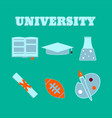 university flat icons set of college items vector image vector image