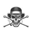 vintage gentleman skull smoking cigar vector image vector image