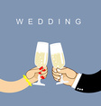 Wedding Newlyweds clink glasses bride and groom vector image vector image