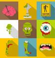 zombie night icon set flat style vector image vector image