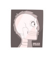 x ray image of a human skull cartoon vector image