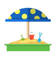 sandbox with red dotted umbrella icon vector image