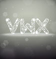 Glowing Font from V to X on Bokeh Backgroun vector image
