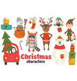set of isolated christmas characters part 2 vector image
