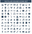 100 sound icons vector image vector image